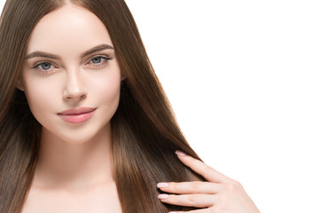 Beautiful hair smooth brunette woman beauty portrait healthy skin and haistyle
