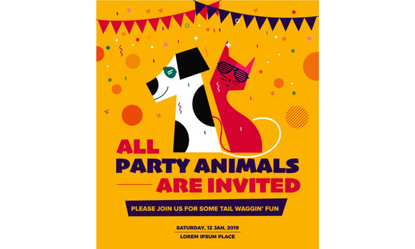 Pet Party Poster Template. Vector illustration of dog and cat wearing sunglasses. Party Greetings Card Concept