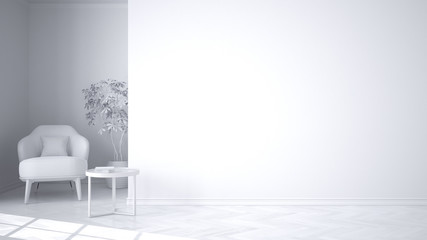 Total white project of empty interior with big panoramic window, armchair, table and potted plant. Classic contemporary design, concept idea with copy space background
