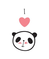 Greeting card for Valentine's Day, wedding with little cute panda. I love panda! Vector illustration.