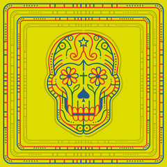 Day of the dead skull illustration