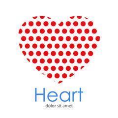 Logotipo Heart con corazón con patrón de círculos en color rojo en espacio negativo