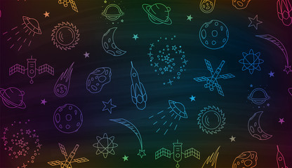 Space doodle seamless pattern. Outline space elements stars planets spaceships