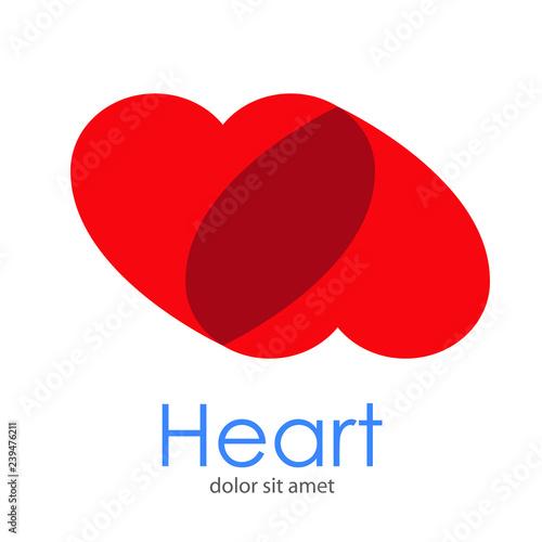 Logotipo Heart Con Corazones Concentricos Arriba En Tonos Color Rojo