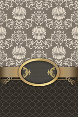 Wall Mural - Floral background with golden border.