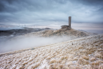 Winter is comming... / Winter landscape with abandoned Buzludzha monument and the frosty foggy peaks of Balkan Mountains, Bulgaria