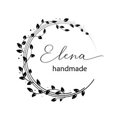 Premade logo design with floral wreath. Tree branches and leaves. Feminine logotype template