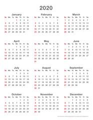 2020 calendar simple, sundays first, format high