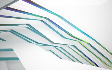 abstract architectural interior with white sculpture and geometric gradient glass lines. 3D illustration and rendering