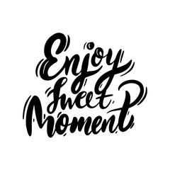 Enjoy sweet Dreamer hand drawn vector lettering. Isolated on white background. Vector illustration.