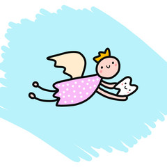 Teeth fairy hand drawn illustration for kids design