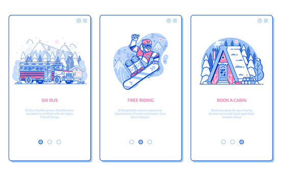 Winter ski resort onboarding mobile app page screens with snow chalet, snowboard free riding and ski bus service in line art design. Winter holidays in mountains vertical banners for applications.