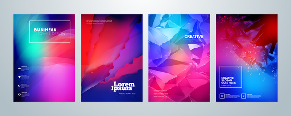 Set of business brochure cover design templates. Modern business flyer or poster with abstract colorful background