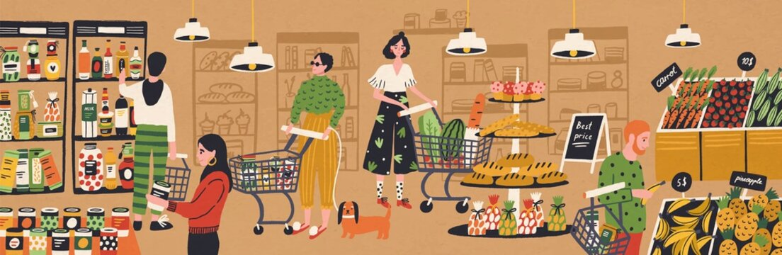 Men and women with shopping carts and baskets choosing and buying products at grocery store. People purchasing food at supermarket. Customers in retail shop. Flat cartoon vector illustration.
