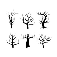 Tree silhouette isolated on white abstract background using for creation nature vector illustration