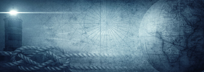 Old globe, lighthouse and sea knot on abstract map background. Pirate, explorer, travel and nautical theme grunge background. Retro style.