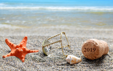 Cork stopper of champagne with number 2019 and seashell with starfish on sand beach. Happy New Year concept.