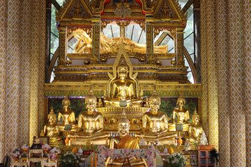 Golden Buddha statue, The Temple in North East of Thailand