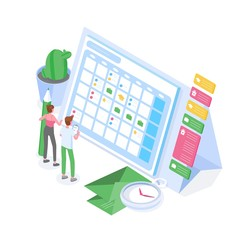 Man and woman standing in front of giant schedule or timetable. Planning, task management, organization of time, project accomplishment, goals achievement. Colorful isometric vector illustration.