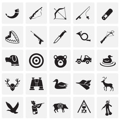 Hunting icon set on squares background for graphic and web design, Modern simple vector sign. Internet concept. Trendy symbol for website design web button or mobile app