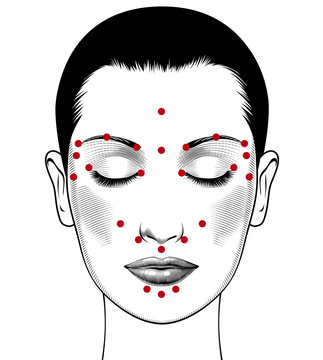 Beautiful european woman face with instructions for facial acupressure with closed eyes. Isolated on white background. Vintage engraving stylized drawing. Vector illustration