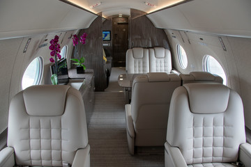 Interior of a Modern Private Jet