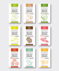 Healthy organic nuts vertical labels set. Vector packaging design.