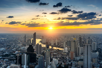 Fototapete - Beautiful sunset at Bangkok, Thailand