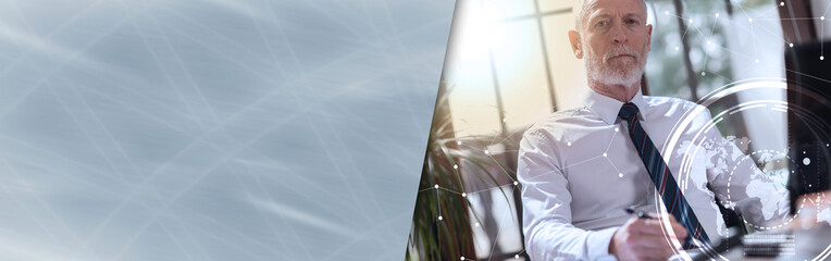 Portrait of senior businessman, double exposure, light effect. panoramic banner
