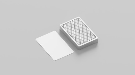 Blank white playing card with deck shirt mockup, isolated, 3d rendering. Empty cards stack mock up, side view. Clear taro pack design template.
