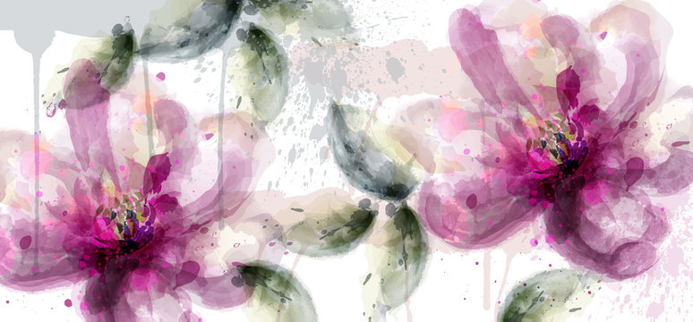 Pink lily flowers banner watercolor Vector. delicate floral blooming decor. Invitation card, wedding ceremony, postcard, Women day greeting. Flow colorful drops. Beautiful pastel colors