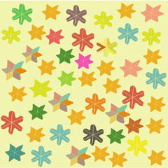 childrens colorful background with stars and flowers