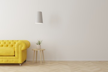 Interior of living room modern style with yellow sofa,wooden side table and white ceiling lamp on wooden floor.