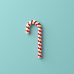 Minimal concept Christmas candy on blue background. top view