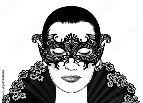 9850c673bcf2 Beautiful girl in carnival mask. Portrait beautiful woman in mask on the dark  background. Vintage engraving stylized drawing. Vector illustration