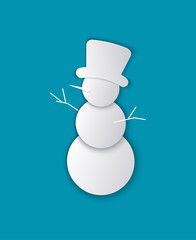 Christmas Paper Cut Snowman Vector Illustration