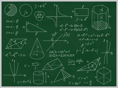 Green Blackboard Mathematical with Thin Line Shapes and Inscriptions. Vector