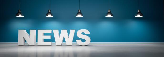 News vor blaugrüner Wand mit 5 Lampen