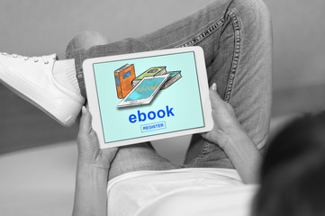 E-book concept on a tablet