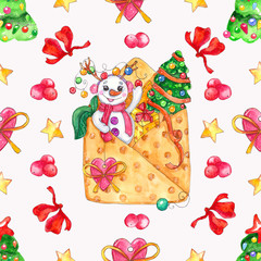 watercolor hand drawn Christmas illustration seamless pattern