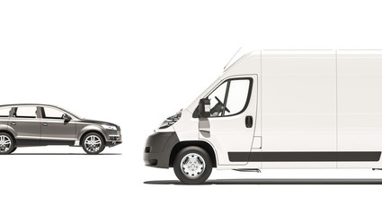 Side View of a Hatchback and a Cargo Van 3D Rendering