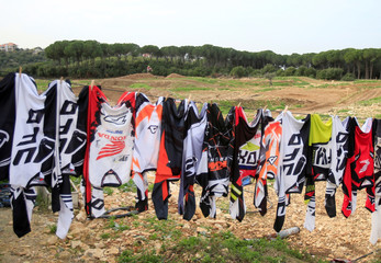Jerseys are hung out to dry at MX Academy Lebanon in Aabrine