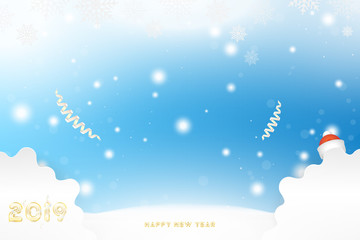 Postcard 2019 on the Christmas and New Year background with original gold shining font. Creative template with decoration elements. Flat vector illustration EPS10