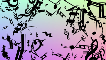Disco Background. Many Random Falling Notes, Bass and, Treble Clef. Black Musical Notes Symbol Falling on Hologram Background. Disco Vector Template with Musical Symbols.