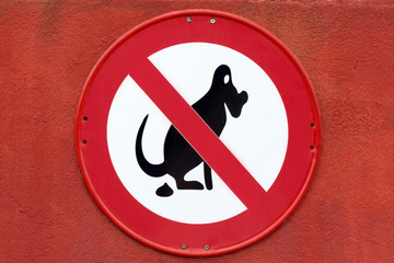 Sign for Dogs no Pooping