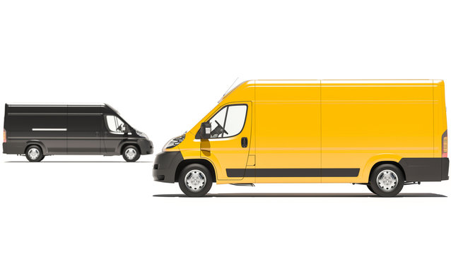 Digitally Generated Black and Yellow Delivery Vans 3D Rendering