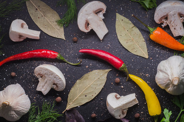 mushrooms, garlic, peppers, dill and basil on dark background top view food photo