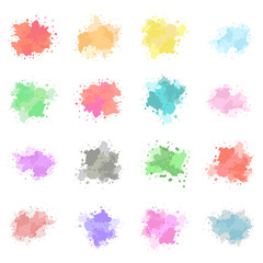 Watercolor paint splash, ink, stain set. Vector colorful textures template isolated on a white background.
