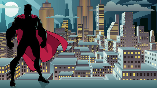 Silhouette of superhero standing tall on city background with copy space.