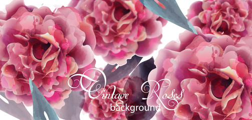 Pink roses watercolor background Vector. Invitation card, wedding ceremony, delicate postcard, Women day greeting card. Beautiful colors